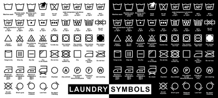 solvant: Ic�ne ensemble de symboles de blanchisserie, illustration