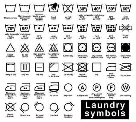 Insieme dell'icona dei simboli della lavanderia, illustrazione di vettore