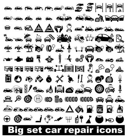 Duże ikony naprawa samochodów zestaw ilustracji wektorowych