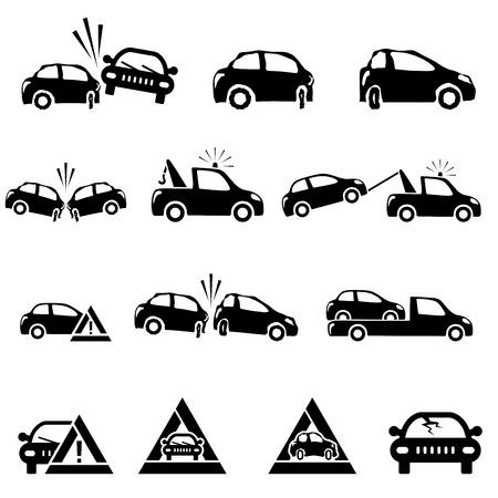hazardous area sign: Iconos de serie del accidente de coche ilustraci�n vectorial Vectores