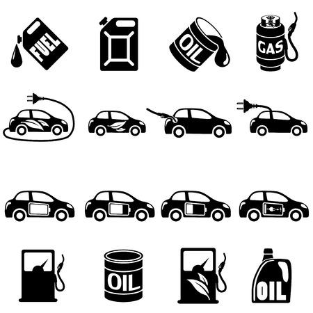 автомобили: Набор различных векторные иллюстрации топлива векторных иконок Иллюстрация
