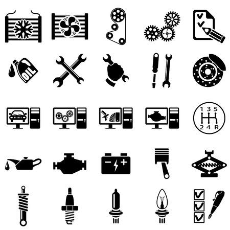repair shop: Conjunto de iconos de Reparaci�n del Autom�vil ilustraci�n vectorial Vectores