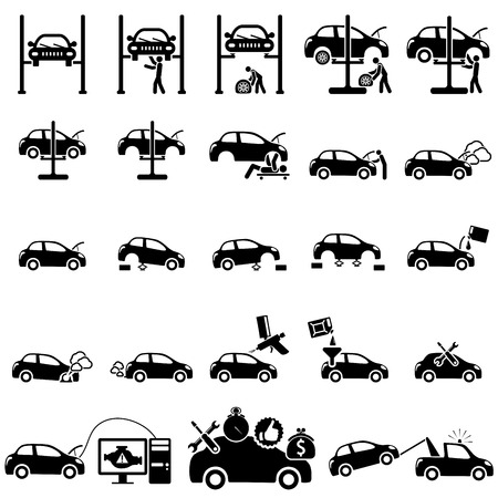auto accident: Set of auto repair Icons  vector illustration