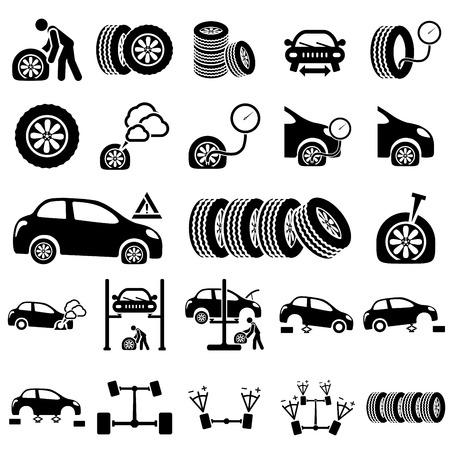 neumaticos: Conjunto de iconos de Reparación del Automóvil ilustración vectorial Vectores