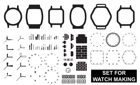 Set for watch making on white background Çizim