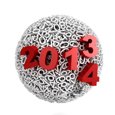 3d Sphere made of numbers on white background photo