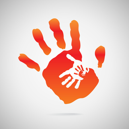 hand in hand in hand in hand on white background Vector