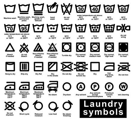 dry cleaned: Set di icone di simboli di lavanderia, illustrazione vettoriale