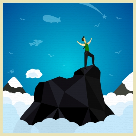 happy businessman standing on the mountain. Vector illustration