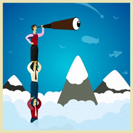 Human teamwork - climb the mountain. Vector illustration