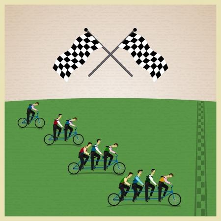 yarışma: İnsan ekip - rekabet Lideri. Vector illustration Çizim