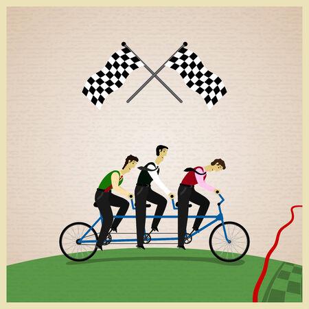 Human teamwork - Leider van de concurrentie. Vector illustratie