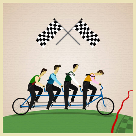 reliance: Human teamwork - Leader of competition. Vector illustration