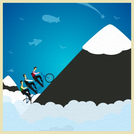 consolidation: Human teamwork - climb the mountain. Vector illustration