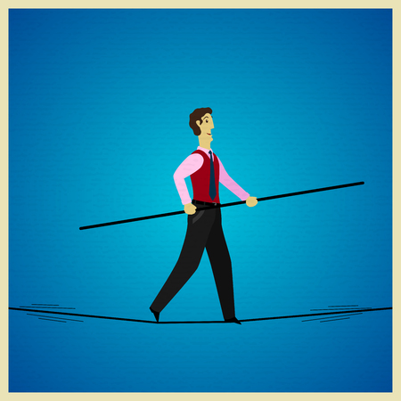 inconstant: Businessman balancing on a rope. Vector illustration