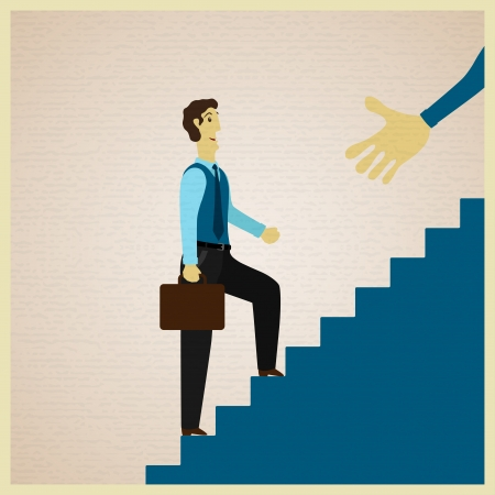 job promotion: businessman climbing stairs and partner holds out his hand, vector illustration Illustration
