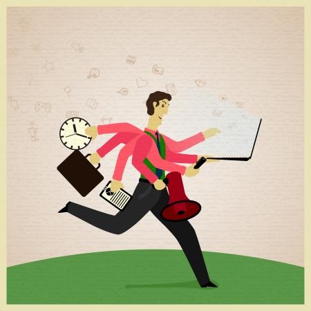 gestion del tiempo: hombre de negocios con siete manos en el reloj traje de espera, megafon, cuaderno, cojín, teléfono celular, carpeta. Vector ilustración
