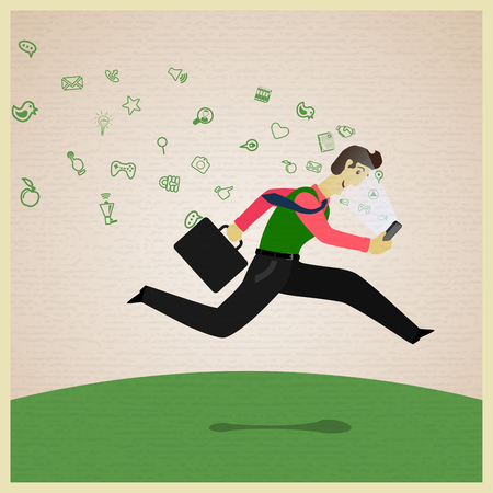 running fast: Businessman running and carrying a phone. Vector illustration. Illustration