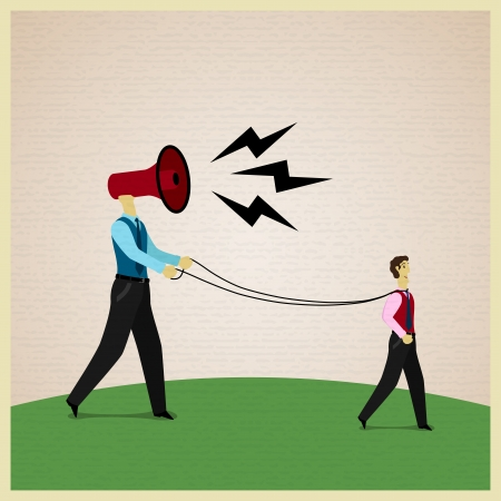 manipulated: Businessman marionette on ropes controlled by boss. Vector illustration Illustration