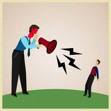 scold: Boss yelling at a subordinate, vector illustration