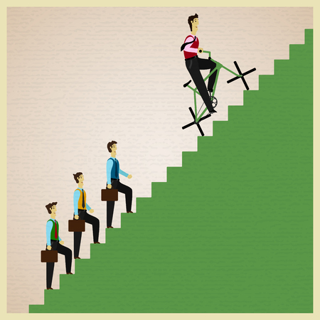 emotional intelligence: man on a bicycle overtakes people walking foot on a ladder Illustration
