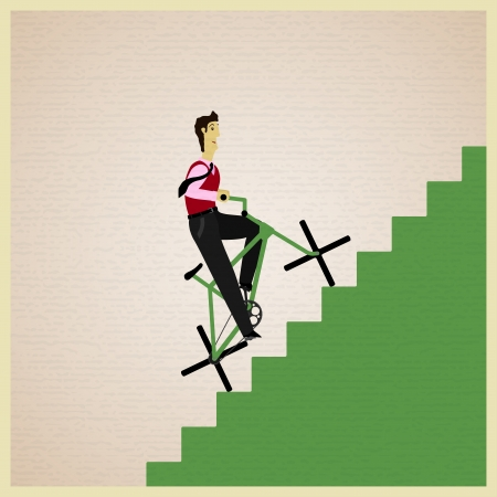 man rides a bicycle up the stairs Vector