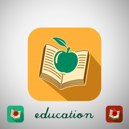 Big education icon with shadow. Vector illustration. Vector