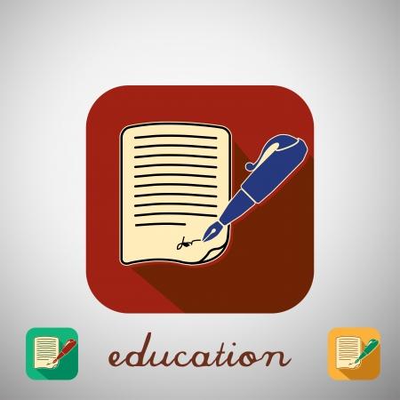 high school student: Big education icon with shadow. Vector illustration. Illustration