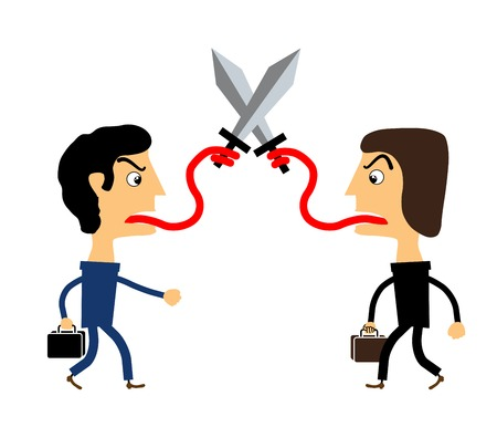 two people fighting with their tongues. vector Vector