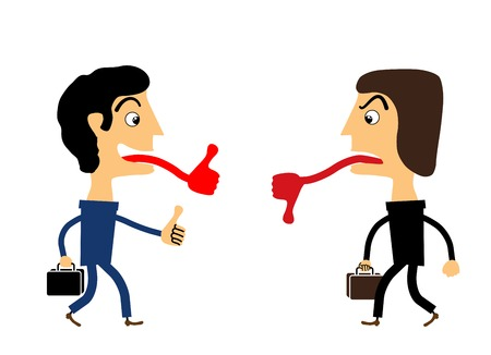 Two people stand and show each other marks Good and Bad Vector