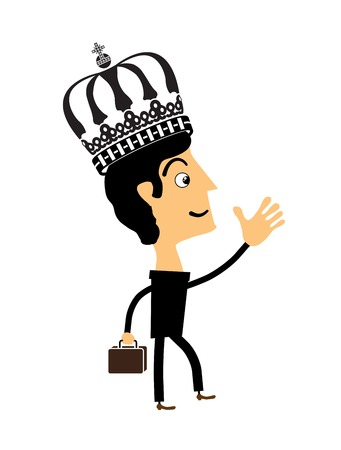 lucky man: Businessman standing in the crown. Vector illustration.