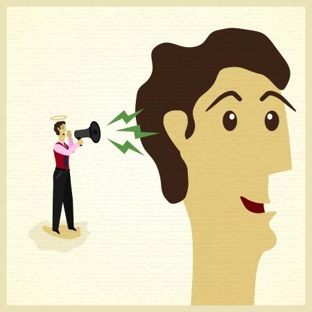 estereotipo: empresario escucha lo que dijo el ángel