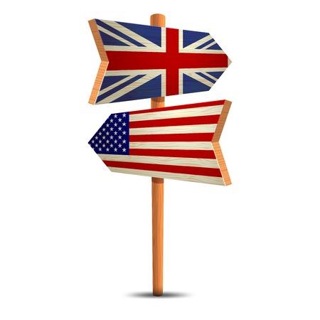 naciones unidas: La señal de tráfico con la bandera de Estados Unidos y Gran Bretaña Vectores