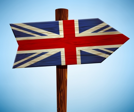 Road sign with the flag of Britain Stock Vector - 24550139