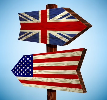 geographical locations: Road sign with the flag of america and Britain