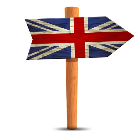geographical locations: Road sign with the flag of Britain Illustration