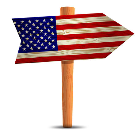 Road sign with the flag of america Vector