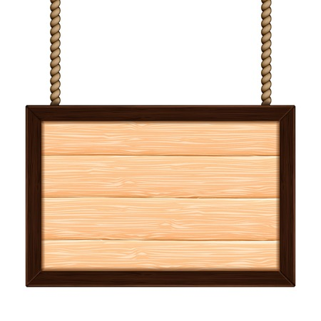 wooden sign on the ropes on white Vector