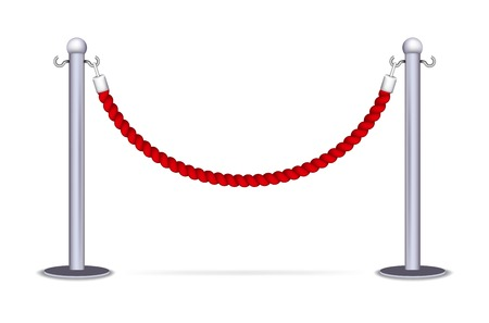 red velvet rope: Barrier rope isolated on a white background