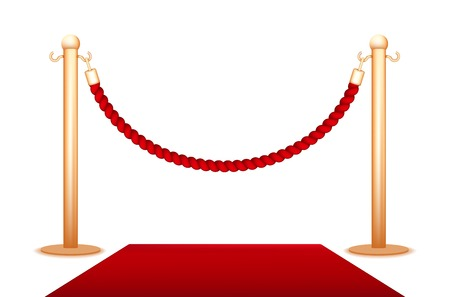 Barrier rope isolated on a white background Vector