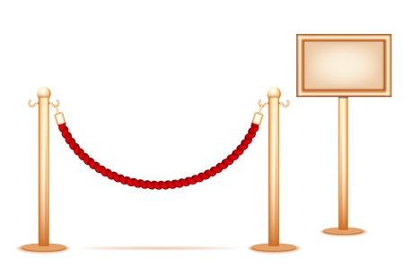 acomodador: Cuerda Barrera aislado en un fondo blanco