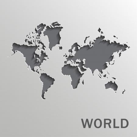 白い背景の上ベクトル紙の世界地図