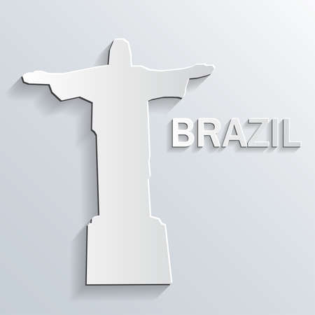 corcovado: Landmark paper symbol on white background. Vector.