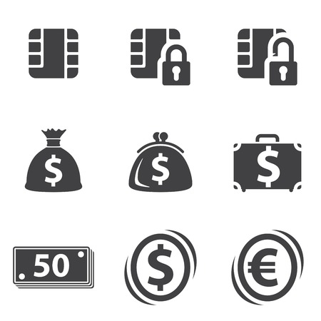 Money set icon on white background. Vector Vector