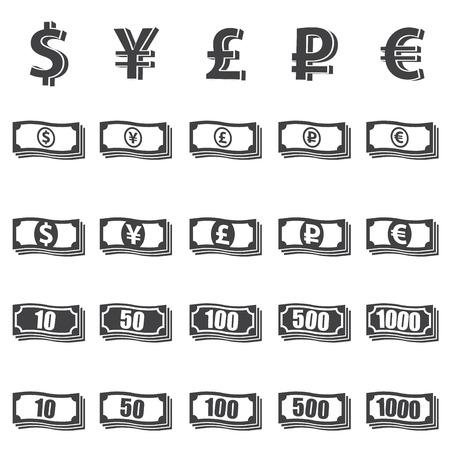 cent: Money set icon on white background. Vector