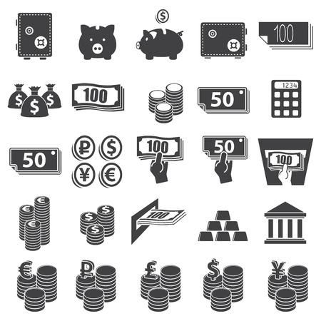 Money set icon on white background. Vector Stock fotó - 25253620