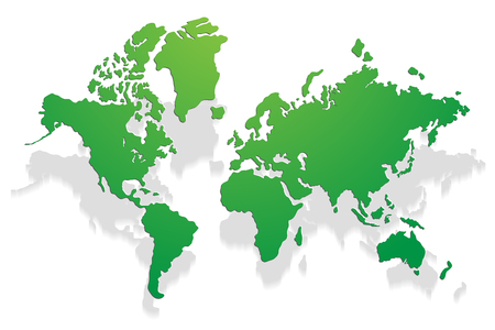 Vector paper world map on a white background Vector