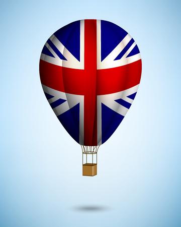 british flag: hot air balloon on blue sky background. Vector.