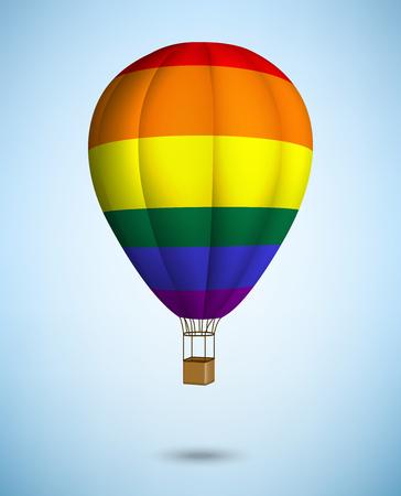bandera gay: globo de aire caliente en el fondo del cielo azul. Vector.