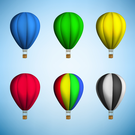hot air balloon on blue sky background. Vector. Vector